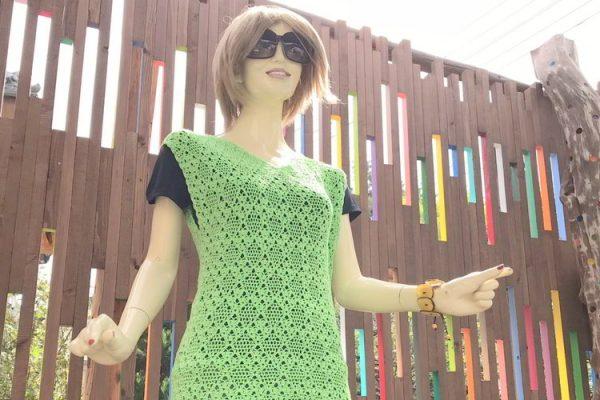 【商品紹介&割引情報】手編みのライムグリーンの網の目シャツ♥